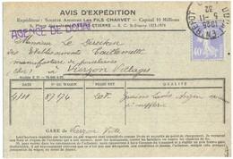 DOUAI ENTREPOT NORD TàD 5-11-32 - Carte AVIS D'EXPÉDITION LES FILS CHARVET => MANUFACTURE DE PORCELAINE VIERZON CHER - Marcophilie (Lettres)