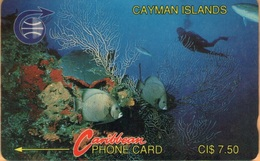 Cayman Island - CAY-3A, GPT, 3CCIA, Diver In Reef (Old Logo),  7.50 $, 56.000ex, 1991, Used - Cayman Islands