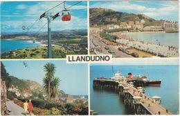 Llandudno : CHAIR LIFT, MORRIS MINOR TRAVELLER, 3x FORD CORTINA - 'The Isle Of Man' STEAMER - Pier - (Wales) - Passenger Cars