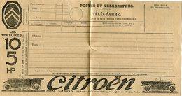 FRANCE TELEGRAMME NEUF DES POSTES ET TELECOMMUNICATION AVEC PUBLICITE VOITURE CITROEN - Voitures