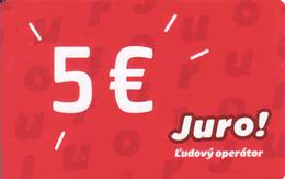 Slovakia-Slovaquie Slovak Telecom Prepaid Mobile Operator Juro 5 Eur - Slovaquie