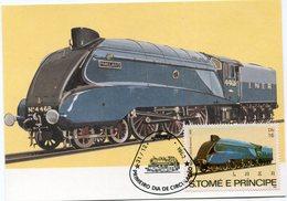 SAINT-THOMAS ET PRINCIPE CARTE MAXIMUM DU N°725 HISTOIRE DES CHEMINS DE FER AVEC OBL. 1er JOUR S. TOME 31-12-1982 - Trains