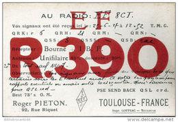 CARTE RADIO EF8CI R390 R. PIETON, 92 Rue  RIQUET TOULOUSE: Signaux Le 25/06/1927 - Radio