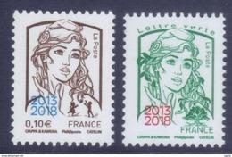 Paire De Timbres (0,10 Et 0,80) Marianne Ciappa Surchargée 2013/2018 - Salon Paris Philex (2018) Neuf** - 2013-... Marianne Of Ciappa-Kawena