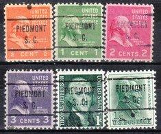 USA Precancel Vorausentwertung Preo, Locals South Carolina, Piedmont 721, 6 Diff. - Vereinigte Staaten