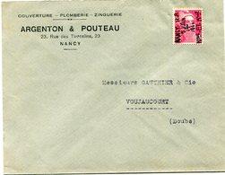 FRANCE LETTRE AFFRANCHIE AVEC 3F. ROSE GANDON AVEC OBLITERATION MANUSCRITE NANCY - R. P. 5 JUIN 19 H 1944 Mthe ET Mlle.. - Marcophilie (Lettres)
