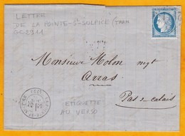 1873 - LAC De La Pointe Saint-Sulpice, Tarn GC 2911 Vers Arras, Pas De Calais - Ambulants - Cad Arrivée - 1871-1875 Cérès