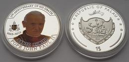 5th ANNIVERSARY OF HIS DEATH - SANTO SUBITO POPE JOHN PAUL- II PALAU SILVER COIN - Palau