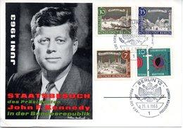 """(Bu-B1) Berlin (West) Sonderkarte MiF Mi WB Und BRD """"STAATSBESUCH John F. Kennedy"""" SSt. 26.6.1963 BERLIN 12 - Berlin (West)"""