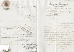 1813 - DEP. CONQUIS (ITALIE) LETTRE Du COMMISSAIRE Des GUERRES à BOLOGNE Avec RARE MARQUE FRANCHISE MANUSCRITE => IMOLA - 1792-1815: Conquered Departments
