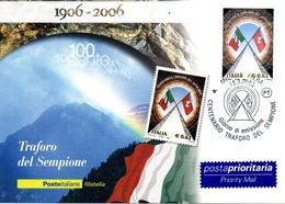 ITALIA 2006 TRAFORO DEL SEMPIONE  FIRST DAY CARD - 6. 1946-.. República