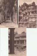 Lot 3 CPA Cambodge Angkor Vat Galeries Crisées Non Circulées - Cambodia