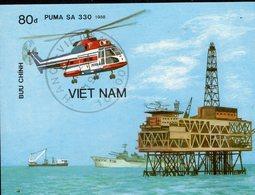 Imperforiert Hubschrauber Der Welt 1989 Vietnam Block 68 O 7€ Erdöl-Plattform Air Bloc Helicopter Sheet Bf Viet Nam - Vietnam