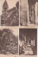 Lot 4 CPA Cambodge Angkor Vat 2ème Galerie, Bayon, Grand Escalier, Entrées Occ. Non Circulées - Cambodia