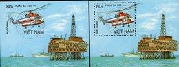 Hubschrauber Der Welt 1989 Vietnam Block 68 A+B O 9€ Erdöl-Plattform Bloque S/s Air Bloc Souvenir Sheet Bf Viet Nam - Viêt-Nam