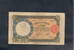50 LIRE LUPA CAPITOLINA FASCIO ROMA 21 10 1938  LOTTO 1764 - [ 1] …-1946 : Royaume