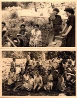2 Photos Originales Reconstruction Après-Guerre 1939/45 - Les Femmes à L'Action En Maçonnerie & Déblaiement - Métiers