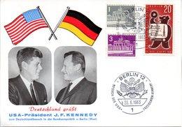 """(Bu-B1) Berlin (West) Sonderkarte MiF WB Mi 140,217,231 """"Deutschland Grüßt J.F. Kennedy"""" SSt. 26.6.1963 BERLIN 12 - Berlin (West)"""