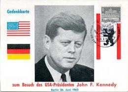 """(Bu-B1) Berlin (West) Gedenkkarte EF WB Mi 140 """"Zum Besuch Des USA-Präsidenten John F. Kennedy"""" SSt. 26.6.1963 BERLIN 12 - Berlin (West)"""