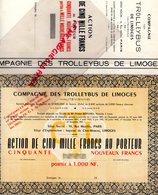 87- LIMOGES- TRES RARE ACTION CINQ MILLE FRANCS PORTEUR- COMPAGNIETROLLEYBUS -IMPASSE CLOS MOREAU-PETRUS BERNRD LYON - Transports