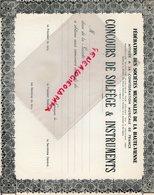 87- LIMOGES- RARE DIPLOME CONCOURS DE SOLFEGE INSTRUMENTS- 1957-FEDERATION DES SOCIETES MUSICALES HAUTE VIENNE- - Documents Historiques