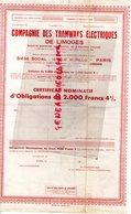 87- LIMOGES- TRES RARE CERTIFICAT NOMINATIF D' OBLIGATIONS DE 2000 FRANCS COMPAGNIE  TRAMWAYS ELECTRIQUES-TRAMWAY-19420 - Transports