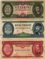 HUNGARY-LOTTO 3 BANCONOTE 10,20,100 FORINT 1930-CIRCOLATE - Ungheria