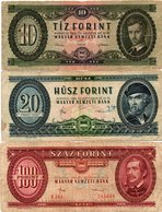 HUNGARY-LOTTO 3 BANCONOTE 10,20,100 FORINT 1930-CIRCOLATE - Hongrie