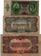 HUNGARY-LOTTO 3 BANCONOTE 10,20,100 PENGO 1936,44-CIRCOLATE - Ungheria