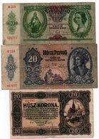 HUNGARY-LOTTO 3 BANCONOTE 10,20, PENGO -20 KORONA-1920,1936,41-CIRCOLATE - Ungheria