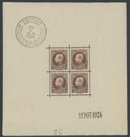 BELGIEN 186KB **, 1924, 5 Fr. Internationale Briefmarkenausstellung Im Kleinbogen (4), Leichte Randunebenheiten Sonst Pr - Belgien
