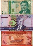 ASIA-LOTTO 3 BANCONOTE -TAJIKISTAN,TURKMENISTAN,SRILANKA-VG-VF-UNC - Billets