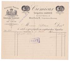 Facture Crémieux, Tailleur-breveté, Rue Saint-Martial, Angoulême (Charente), Directeur : Bailly, 1892 - France