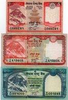 NEPAL-LOTTO 3 BANCONOTE-5,20,50 RUPEES -VF-XF-UNC - Népal