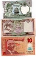 NEPAL-LOTTO 3 BANCONOTE-2,10 RUPEES-10 NAIRA NIGERIA -VF-XF-UNC - Nepal
