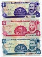 NICARAGUA-LOTTO 3 BANCONOTE1,5,25 CENTAVOS CORDOBA-UNC - Nicaragua