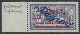 MEMELGEBIET 79 *, 1922, 3 M. Auf 60 C. Dkl`grauviolett/kobalt Mit Abart Großer Blauer Punkt Hinter Memel, Falzrest, Prac - Memelgebiet