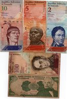 VENEZUELA-LOTTO 5 BANCONOTE-2,5,10,20,100 BOLIVARES-CIRCOLATE - Venezuela
