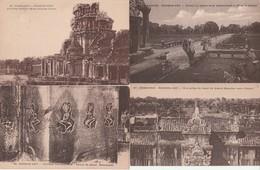 Lot 4 CPA Cambodge Angkor Vat Entrées Occ., Chaussée Ouest, Grand Escalier, Non Circulées - Cambodia