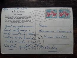 Obl Mecanique ORLY AEROGARE Seine Sur Paire Semeuse Piel , Carte Avion CARAVELLE Air France 1962 > Wien Osterreich, - Poststempel (Briefe)