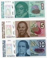 ARGENTINA-LOTTO 3 BANCONOTE-1,5,10 AUSTRALES -UNC - Argentina