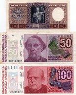 ARGENTINA-LOTTO 3 BANCONOTE-1 PESO-1962-UNC-50,100 AUSTRALES VF-UNC - Argentina