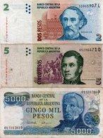 ARGENTINA-LOTTO 3 BANCONOTE-2,5,5000 PESO CIRCOLATE - Argentina