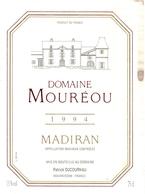 Etiket Etiquette - Vin - Wijn - Domaine Mouréou - Madiran - 1994 - Madiran