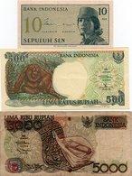 INDONESIA-LOTTO 3 BANCONOTE-10 SEN.500,5000 RUPIAH- VG-UNC - Indonesia