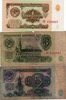 RUSSIA-LOTTO 3 BANCONOTE-1,3,5 RUB.-1961-2 CIRCOLATE-UNC - Russia