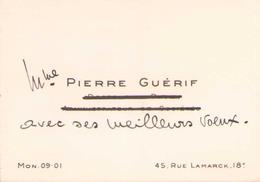 CARTE DE VISITE Mme PIERRE GUERIF - Cartoncini Da Visita