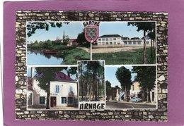 72 ARNAGE Multivues La Sarthe  L'Eglise Les Nouvelles écoles Hôtel De Ville La Pinède Rue Nationale Simca Aronde Blason - Otros Municipios
