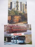 ADELAIDE (AUSTRALIE)  : Tramway Du Réseau Urbain Et Bus Mercedes Type O-bahn - LOT De 2 CPM - Voir Les Scans - Tramways