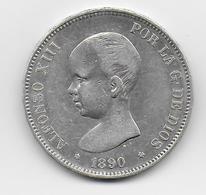 ESPAGNE - 5 PESETAS ARGENT 1890 - Eerste Muntslagen